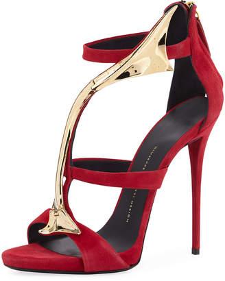 Giuseppe Zanotti Suede Curved-Bar Dress Sandal