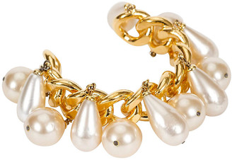 One Kings Lane Vintage 1980s Chanel Pearl Charm Chain Cuff - Vintage Lux