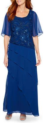 MAYA BROOKE Maya Brooke Short Sleeve Embroidered Evening Gown