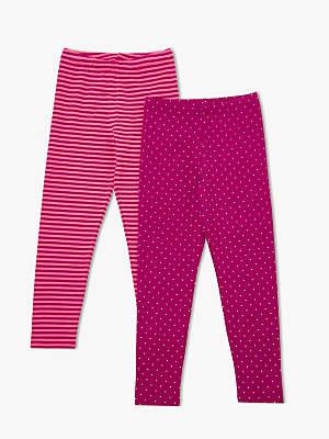 John Lewis Girls' Spot And Stripe Leggings, Pack of 2
