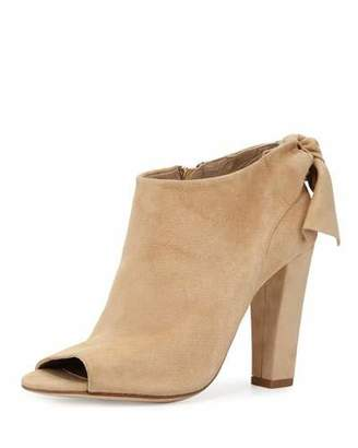 Delman Dylan Bow Peep-Toe Bootie, Camel $448 thestylecure.com