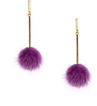 Tuleste Purple Mini Mink Pom Pom Earrings