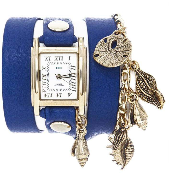 La Mer Montauk Ocean-Inspired Goldtone Chain and Charms Blue Leather Wrap-Design Watch