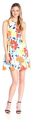 Anne Klein Women's Printed Floral Scuba Fit-and-Flare Sleeveless Dress