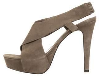 Diane von Furstenberg Peep-Toe Platform Sandals Olive Peep-Toe Platform Sandals