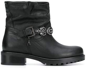 Patrizia Pepe embellished buckle strap ankle boots