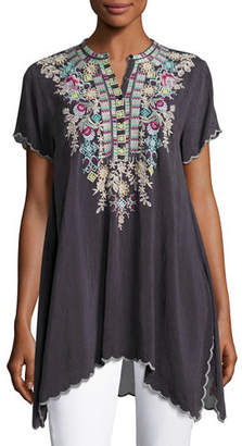 Johnny Was Livana Embroidered Short-Sleeve Tunic, Plus Size