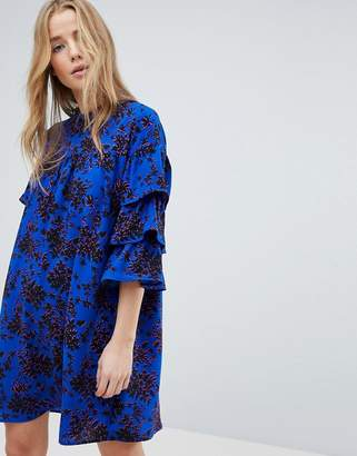 Only Floral High Neck Dress With Ruffle Sleeves