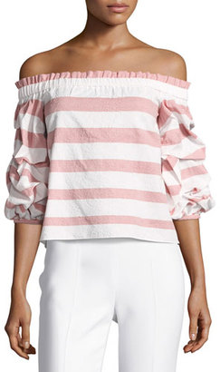 Alexis Juneau Wide-Stripe Off-the-Shoulder Top, Pink/White $297 thestylecure.com