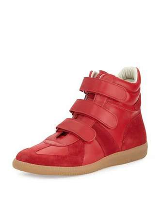 Maison Margiela Men's Triple-Strap Leather & Suede High-Top Sneakers, Red