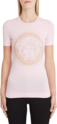 Versace Embellished Medusa Logo Tee