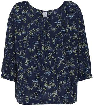 Mcverdi Loose Blouse With Blue Flower Print