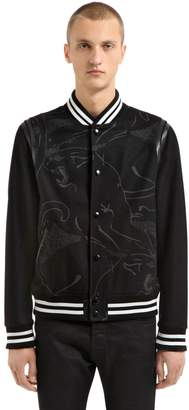Valentino Panther Leather & Wool Varsity Jacket