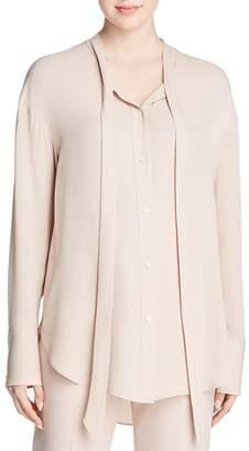 Theory Weekender Tie-Neck Silk Shirt