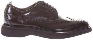 Green George Brogue Polished Leather Derby Shoes