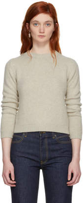 The Elder Statesman Off-White Cashmere Simple Cropped Crewneck Sweater