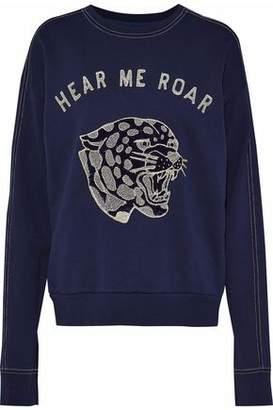 Zoe Karssen Appliquéd Embroidered French Cotton-Terry Sweatshirt