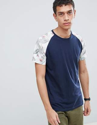 Jack and Jones Originals T-Shirt With Floral Raglan Sleeve
