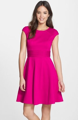 Women's Eliza J Pintucked Waist Seamed Ponte Knit Fit & Flare Dress $98 thestylecure.com