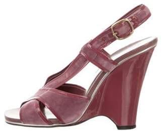 Marc Jacobs Velvet Wedge Sandals Mauve Velvet Wedge Sandals