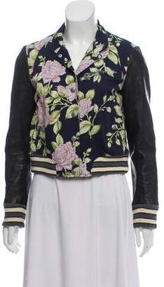 Rag & Bone Floral & Leather-Trimmed Varsity Jacket