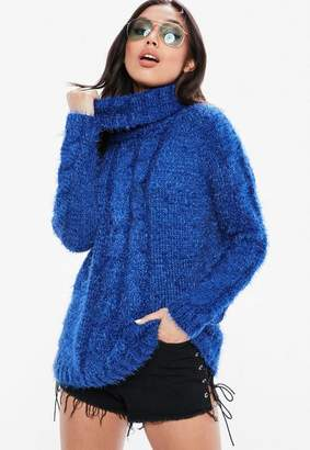 Missguided Blue Turtle Neck Longline Sweater