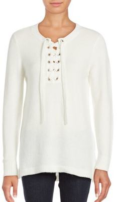 Solid Lace-Front Sweater $79 thestylecure.com