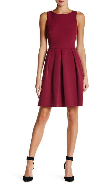 Anne Klein Anne Klein Crepe Inverted Pleat Fit & Flare Dress