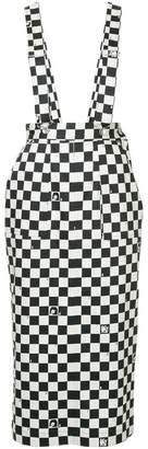 G.V.G.V. dungaree-style checkered skirt
