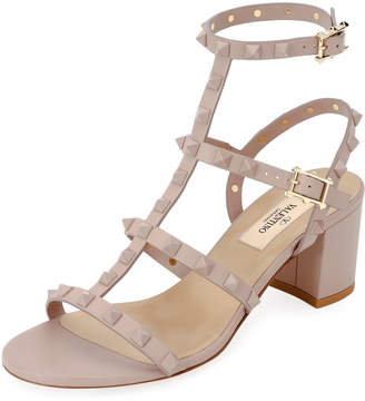 Valentino Rockstud Smooth Slide Sandals
