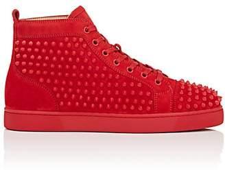 Christian Louboutin Men's Louis Flat Suede Sneakers - Red