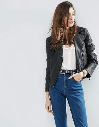 ASOS Ultimate Leather Look Biker Jacket with Piped Detail $64 thestylecure.com