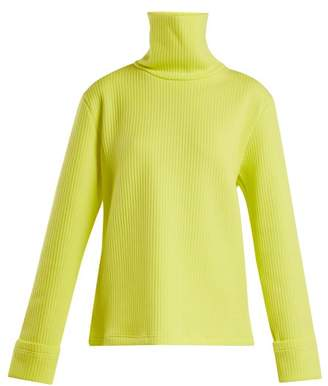 MM6 MAISON MARGIELA Ribbed Technical Jersey Roll Neck Sweater - Womens - Yellow