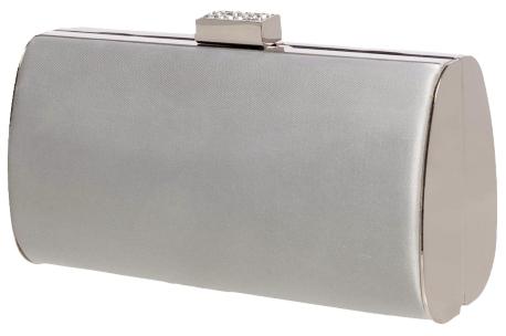 Lulu Townsend Satin Box Clutch - Silver