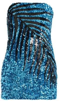 a2198e65c0961 ATTICO The Palm Motif Sequin Embellished Mini Dress - Womens - Blue