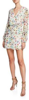 Aidan Mattox Floral-Print V-Neck Long-Sleeve Dress