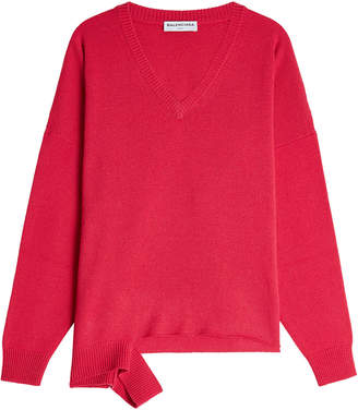 Balenciaga Virgin Wool and Cashmere Pullover with Deconstructed Hem