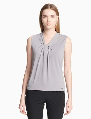 Calvin Klein matte jersey solid knot neck cami top