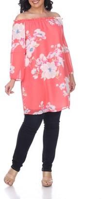 White Mark Women's Plus Size Floral Print Off Shoulder Tunic Top