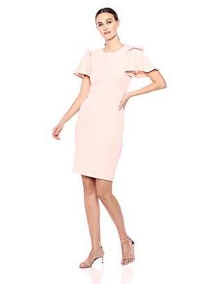 Calvin Klein Women's Round Neck Sheath with Flutter Ruffle Sleeves