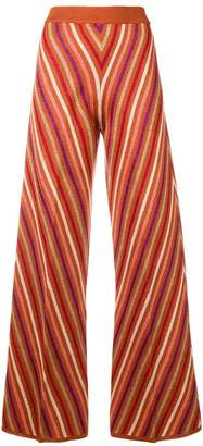 Twin-Set metallic striped knitted trousers