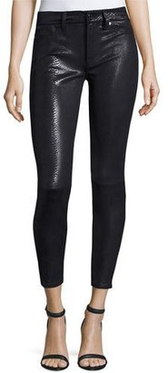 7 For All Mankind The Knee Seam Snake-Embossed Ankle Skinny Jeans, Black $219 thestylecure.com