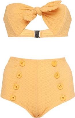 Lisa Marie Fernandez Poppy Button High-Waist Bikini Set