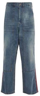 Needles - Side Striped Wide Leg Workwear Jeans - Mens - Blue