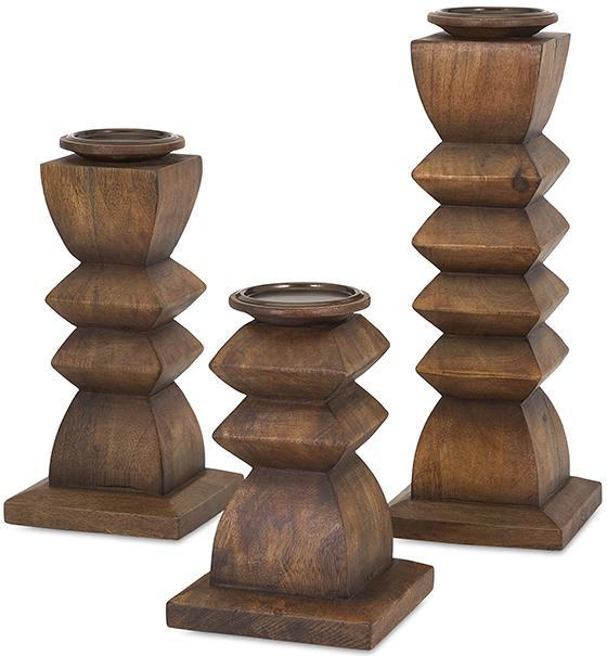 Austin Wood Candle Holders - Set of 3