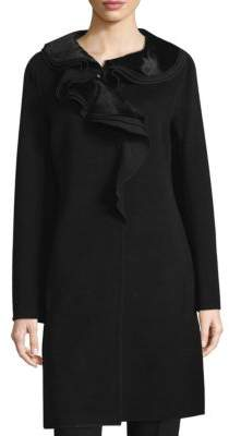 Elie Tahari Victoria Ruffled Collar Coat