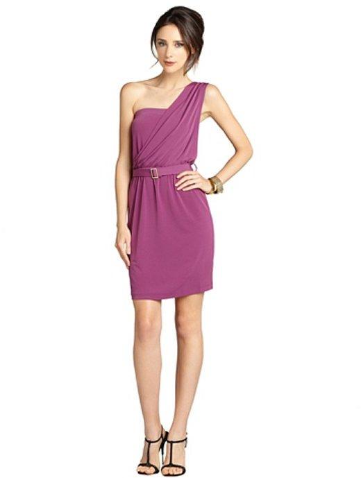 Dylan & Rose plum stretchy knit elastic waist belted one shoulder dress