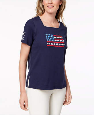Alfred Dunner Petite America's Cup Cotton Embellished Flag T-Shirt