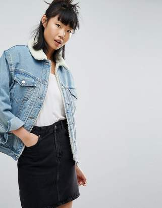 Asos Denim Borg Jacket In Midwash Blue