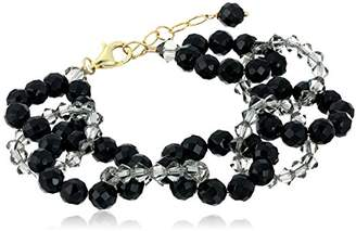 Swarovski Gold-Plated Sterling Silver Faceted Onyx Intertwined with Brilliant Grey Colored Crystals By Bracelet